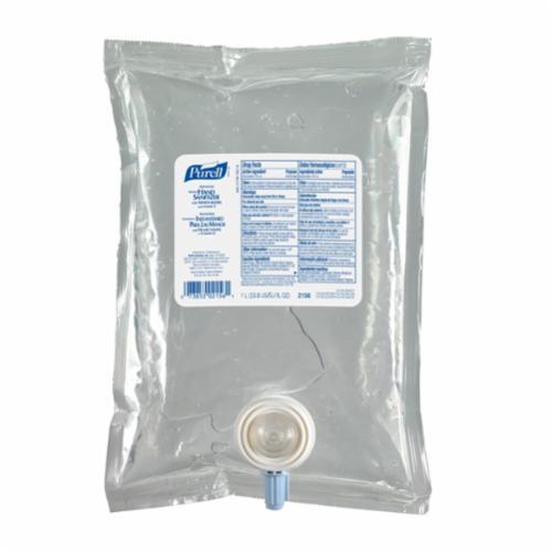 PURELL® 2156-08 NXT® Hand Sanitizer, 1000 mL Nominal, Dispenser Refill Package, Gel Form, Fruity/Odorless Odor/Scent, Clear/Light Blue
