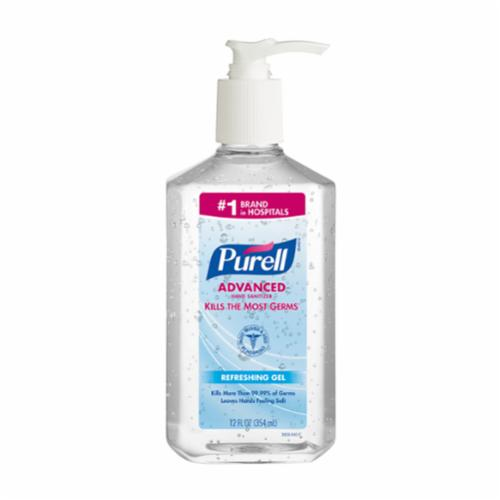 PURELL® 3659-12 Hand Sanitizer, 12 fl-oz Nominal, Bottle Package, Gel Form, Fruity/Odorless Odor/Scent, Clear/Light Blue