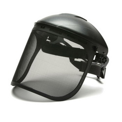 Pyramex® S1060 Face Shield, 8 in H x 15-1/2 in W, Black, Nylon/Steel Wire Mesh