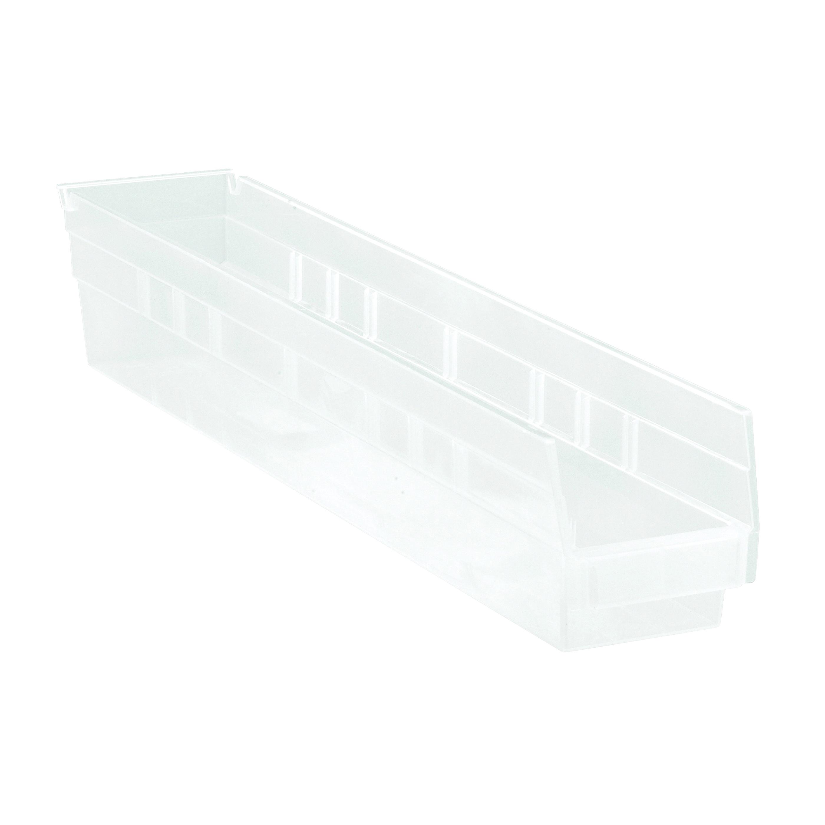 Quantum® QSB105CL Economy Shelf Bin, 23-5/8 in L x 4-1/8 in W x 4 in H, 0.15 cu-ft, Clear