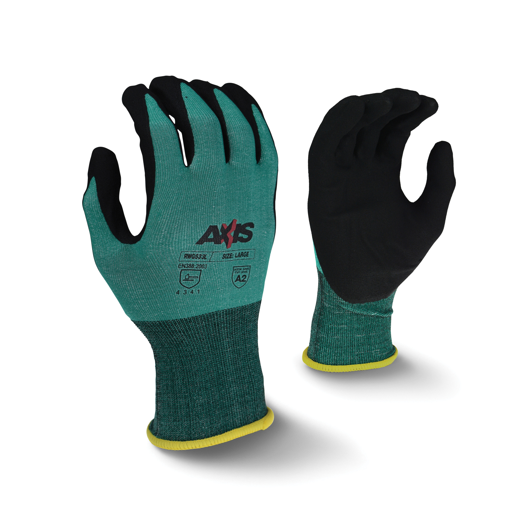 Radians® RWG533 Axis™ General Purpose Gloves, Coated, HPPE Palm, HPPE, Black/Green, Seamless Cuff, Sandy Foam Nitrile Coating, Resists: Abrasion, Cut, Puncture and Tear