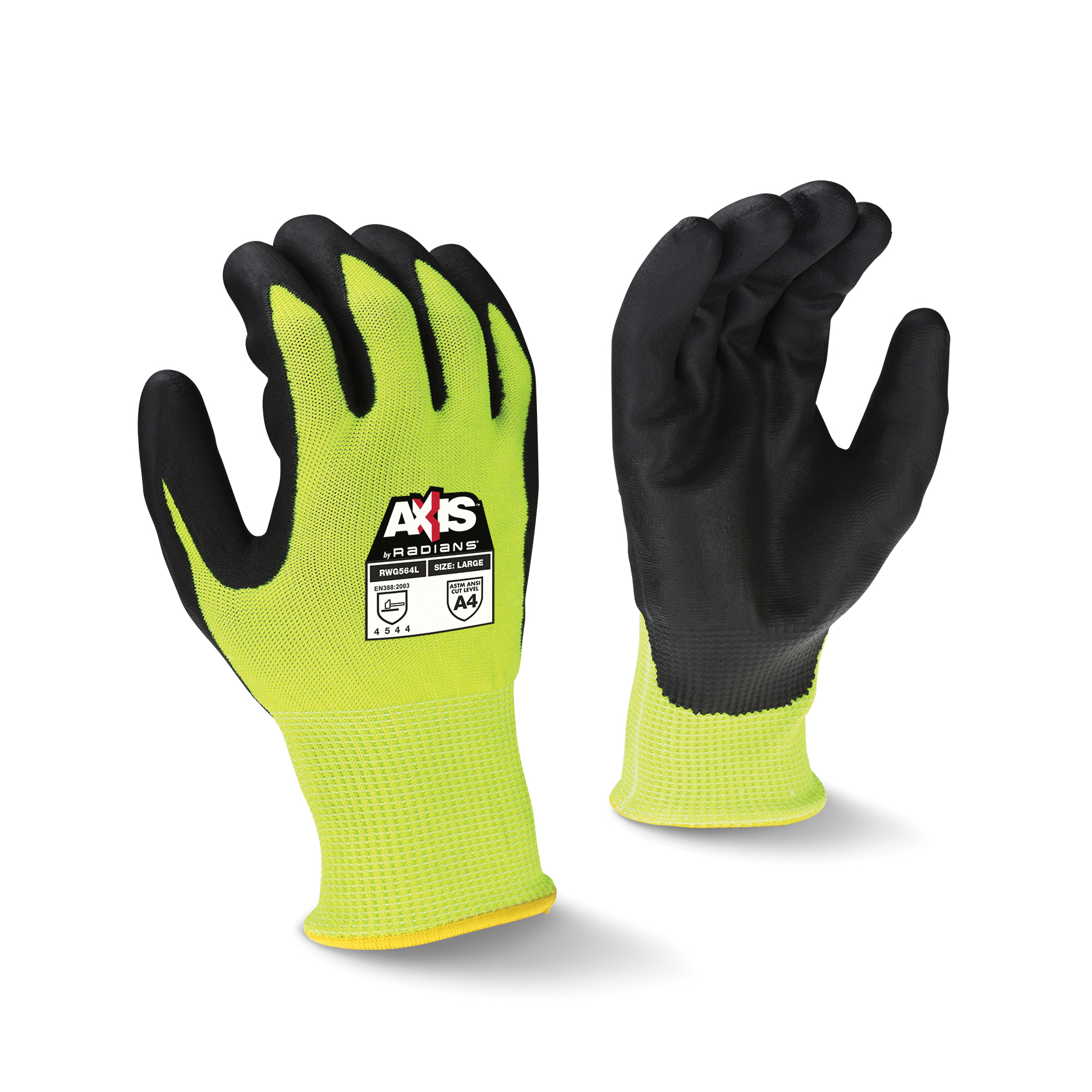 Radians® RWG564L Axis™ Cut-Resistant Gloves, L, Foam Nitrile Coating, HPPE with Fiberglass, Seamless Cuff, Resists: Abrasion, Cut, Tear and Puncture, ANSI Cut-Resistance Level: A4, ANSI Puncture-Resistance Level: 5