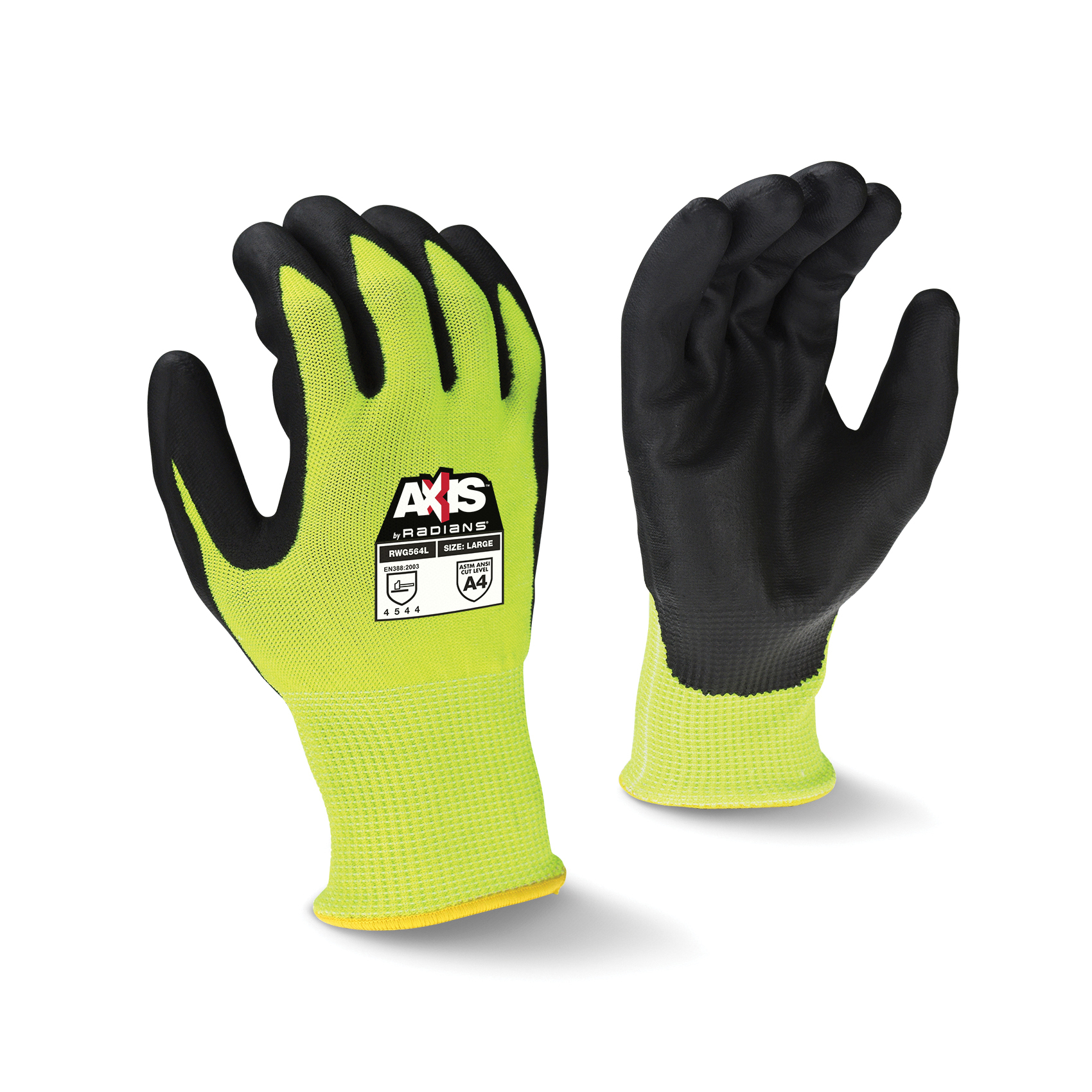 Radians® RWG564M Axis™ Cut-Resistant Gloves, M, Foam Nitrile Coating, HPPE with Fiberglass, Seamless Cuff, Resists: Abrasion, Cut, Tear and Puncture, ANSI Cut-Resistance Level: A4, ANSI Puncture-Resistance Level: 5