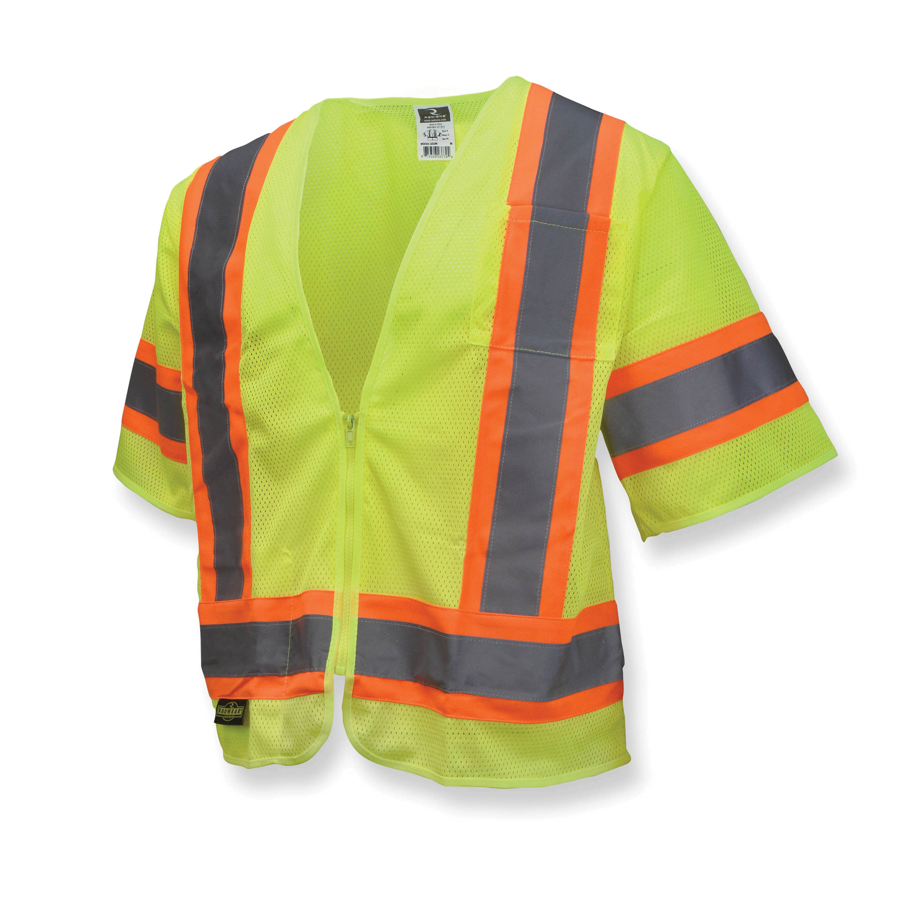 Radians® SV22-3ZGM Economy Safety Vest With 2-Tone Trim, L, Hi-Viz Green, Polyester Mesh, Zipper Closure, 2 Pockets, ANSI Class: Class 3, Specifications Met: ANSI/ISEA 107-2015 Type R