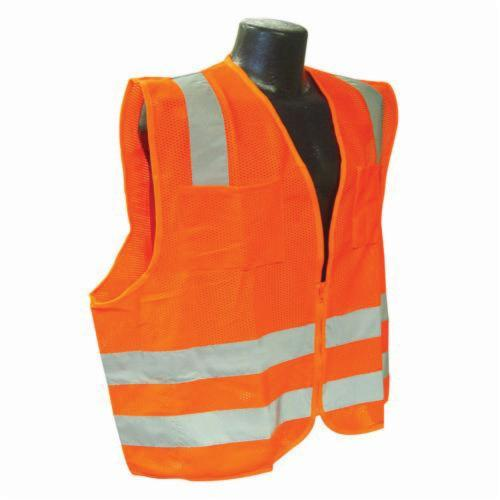 Radians® SV2ZO Economy Safety Vest, Hi-Viz Orange, Polyester Mesh, Zipper Closure, 2 Pockets, ANSI Class: Class 2, Specifications Met: ANSI/ISEA 107-2010