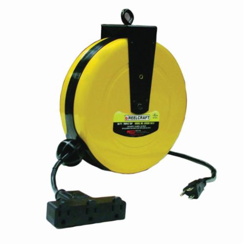 Reelcraft® LD2030 163 9 Retractable Power Cord Reel With SJTW Cord, 125 VAC, 10 A, 30 ft L Cord, 16 AWG Conductor, 3 Outlets
