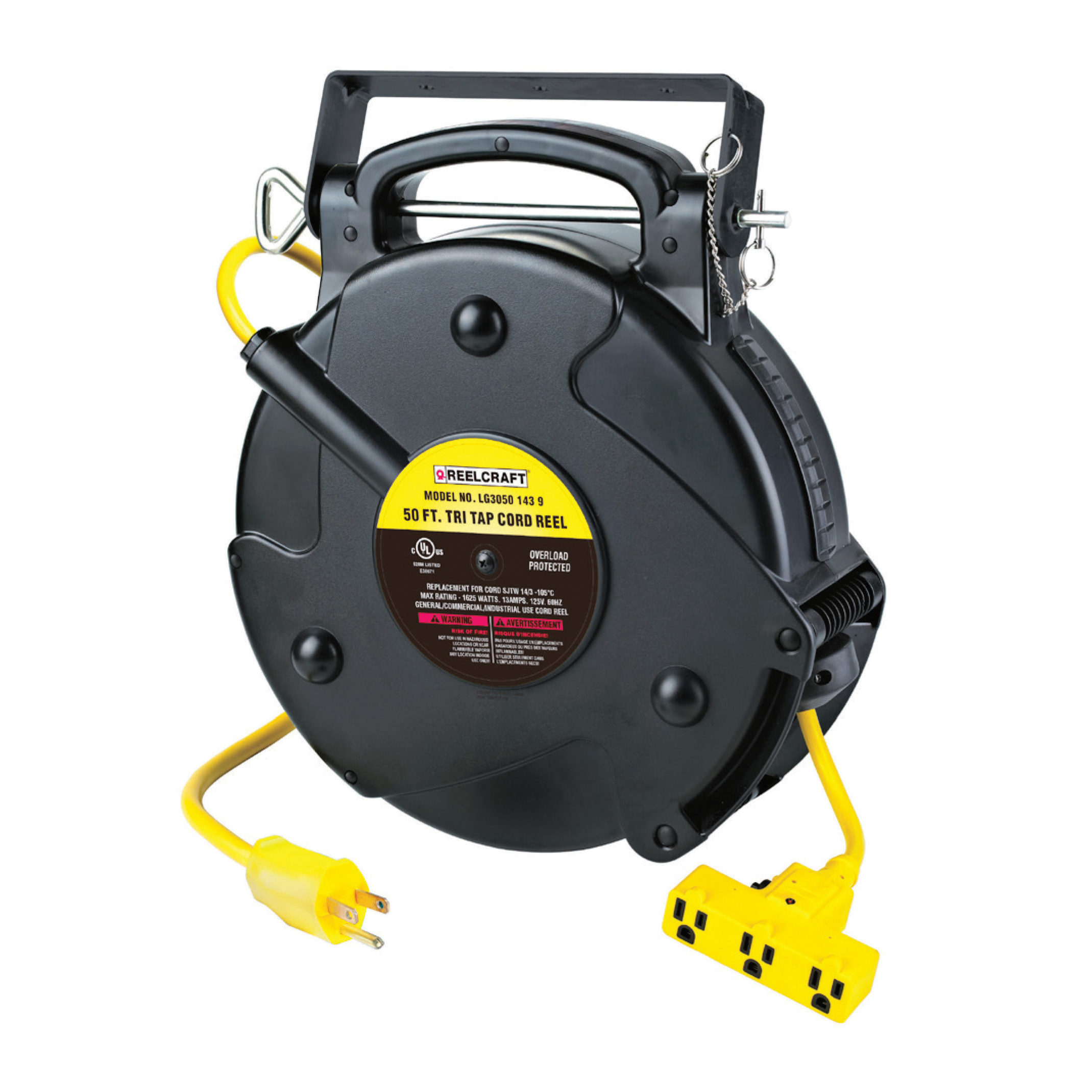 Reelcraft® LG3040 123 9 Retractable Power Cord Reel With SJTW Cord, 125 VAC, 15 A, 40 ft L Cord, 12 AWG Conductor, 3 Outlets