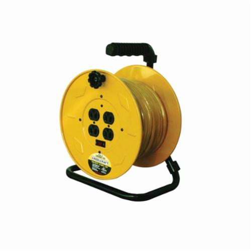 Reelcraft® LH2080 143 Hand Crank Quad Retractable Power Cord Reel, 125 VAC, 10 A, 80 ft L Cord, 14 AWG Conductor, 4 Outlets