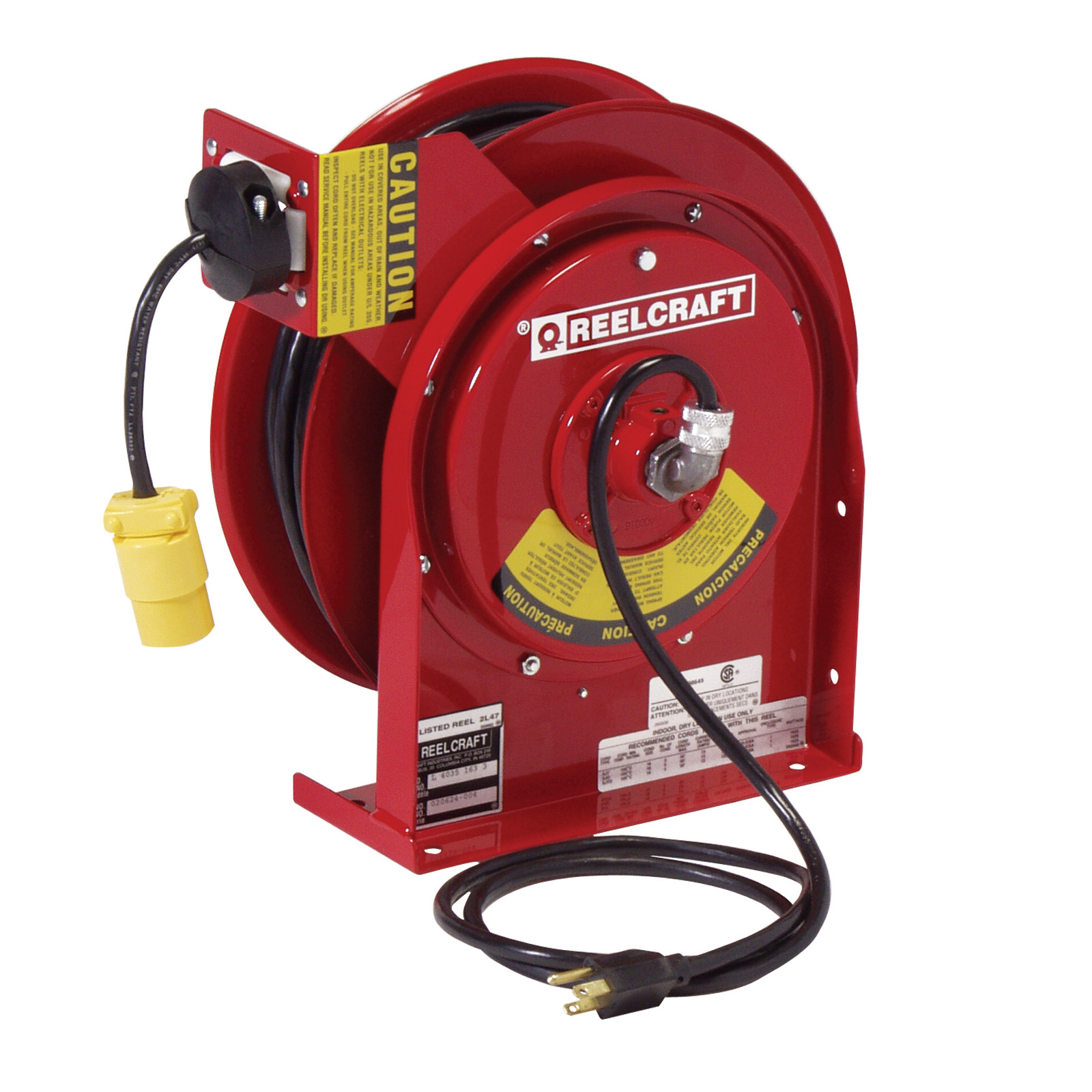 Reelcraft® L 4035 163 3 L 4000 Retractable Power Cord Reel With SJTOW Cord, 125 VAC, 13 A, 35 ft L Cord, 16 AWG Conductor, 1 Outlets