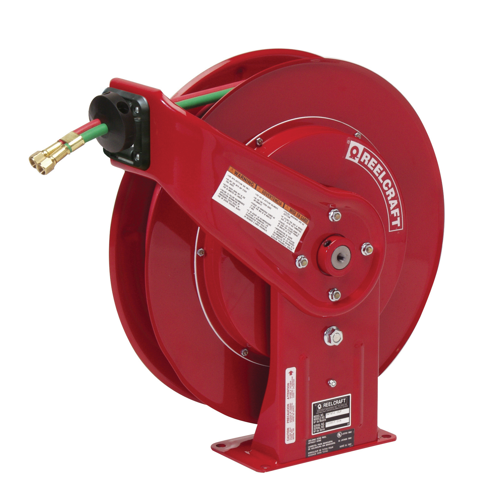 Reelcraft® TW7460 OLPT Dual Swivel Heavy Duty Spring Drive Hose Reel, 9/16-18 Female Hose Outlet, 1/4 in ID x 60 ft L Hose, 200 psi Pressure, 150 deg F