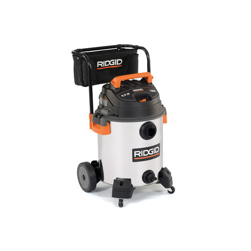 RIDGID® 31703 ProVac Wet/Dry Vacuum Cleaner With Cart, 16 gal, 294 W/6.5 Hp, 12 A, 120 V, Stainless Steel Housing