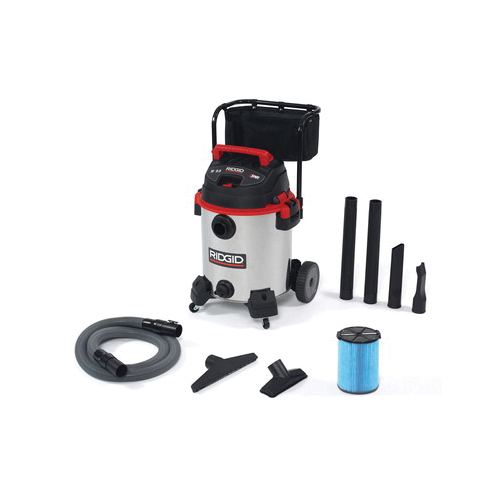 RIDGID® 50353 Wet/Dry Vacuum, 12 A, 16 gal Tank, 6.5 hp Power Rating, Stainless Steel Housing