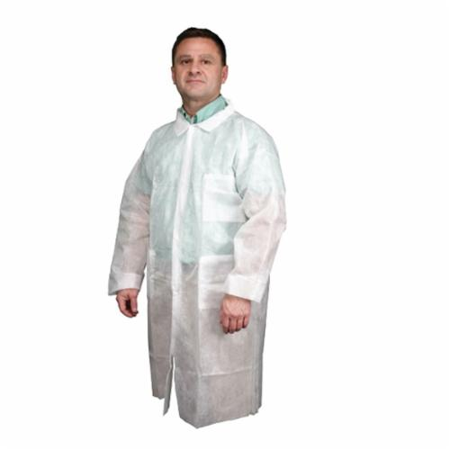 River City 12WPLL Lightweight Disposable Garment With Round Collar, Men's, L, White, Polypropylene, 43 in L, Front Snap Closure, 2 Pockets