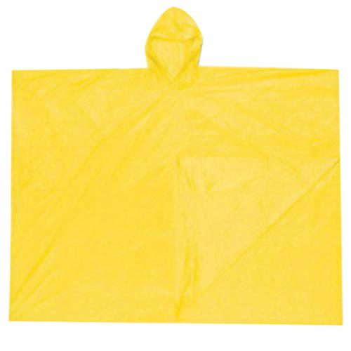 River City O40 Schooner Disposable Poncho With Attached Hood, Universal, 80 in L, Yellow, PVC