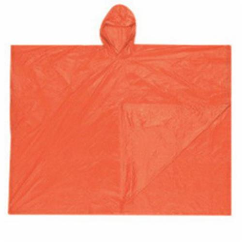 River City O41 Schooner Disposable Poncho With Attached Hood, Universal, 80 in L, Red, PVC