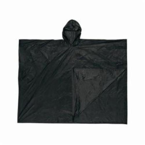 River City O47 Schooner I 1-Ply Disposable Poncho With Attached Hood, Universal, 52 in L, Black, 0.1 mm PVC