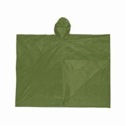 River City O48 Schooner I 1-Ply Disposable Poncho With Attached Hood, Universal, 52 in L, Olive Drab Green, 0.1 mm PVC