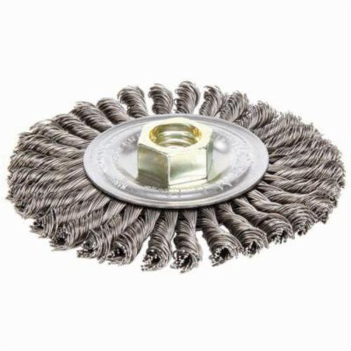 Mini Roughneck® 13131V Narrow Face Vending Ready Wheel Brush With Nut, 4 in Dia Brush, 3/16 in W Face, 0.02 in Dia Stringer Bead Knot Filament/Wire, 5/8-11 Arbor Hole