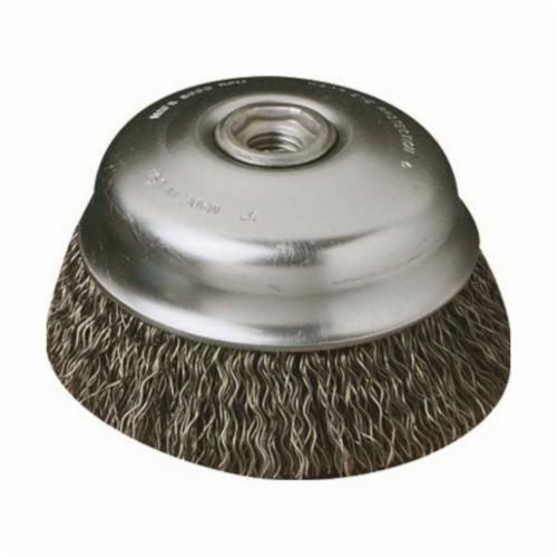 SAIT® Industrial 01401 Small Cup Brush, 2-3/4 in Dia Brush, 5/8-11, 0.014 in, Crimped, Carbon Steel Fill