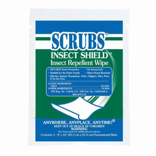 SCRUBS® INSECT SHIELD™ 914 91401 Insect Repellent Wipe, 1 Towel Pack, Liquid Form, White