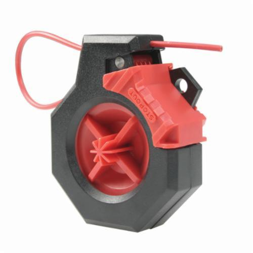 STOPOUT® KDD630 Cinch Cable Lockout, 9/64 in Dia x 6 ft L Nylon Coated Steel Cable, 1 Padlocks, Black/Red, 9/32 in Padlock Shackle Maximum Diameter, Plastic Body, Specifications Met: OSHA 29 CFR 1910.147
