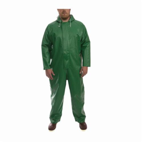 Tingley Safetyflex® V41108 4-Piece Coverall, Unisex, Green, 17 mil PVC on 150D Polyester