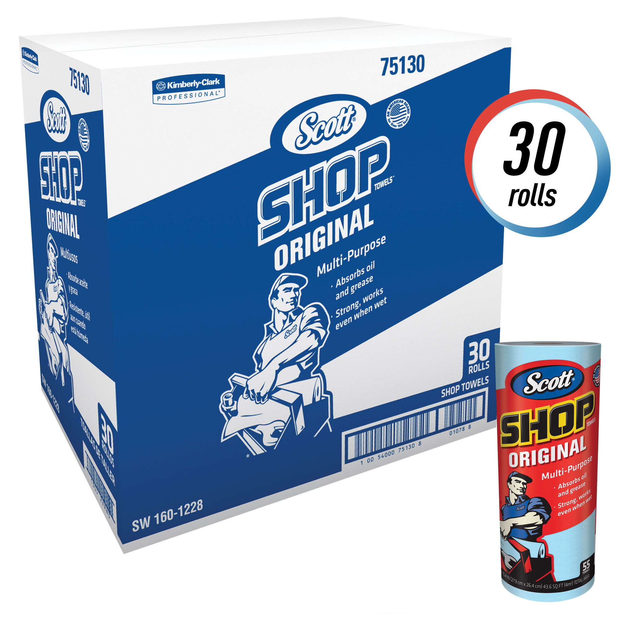 Scott® 75130 Original Shop Towel, 11 in L x 10.4 in W, Hydroknit®, Blue, Roll Package