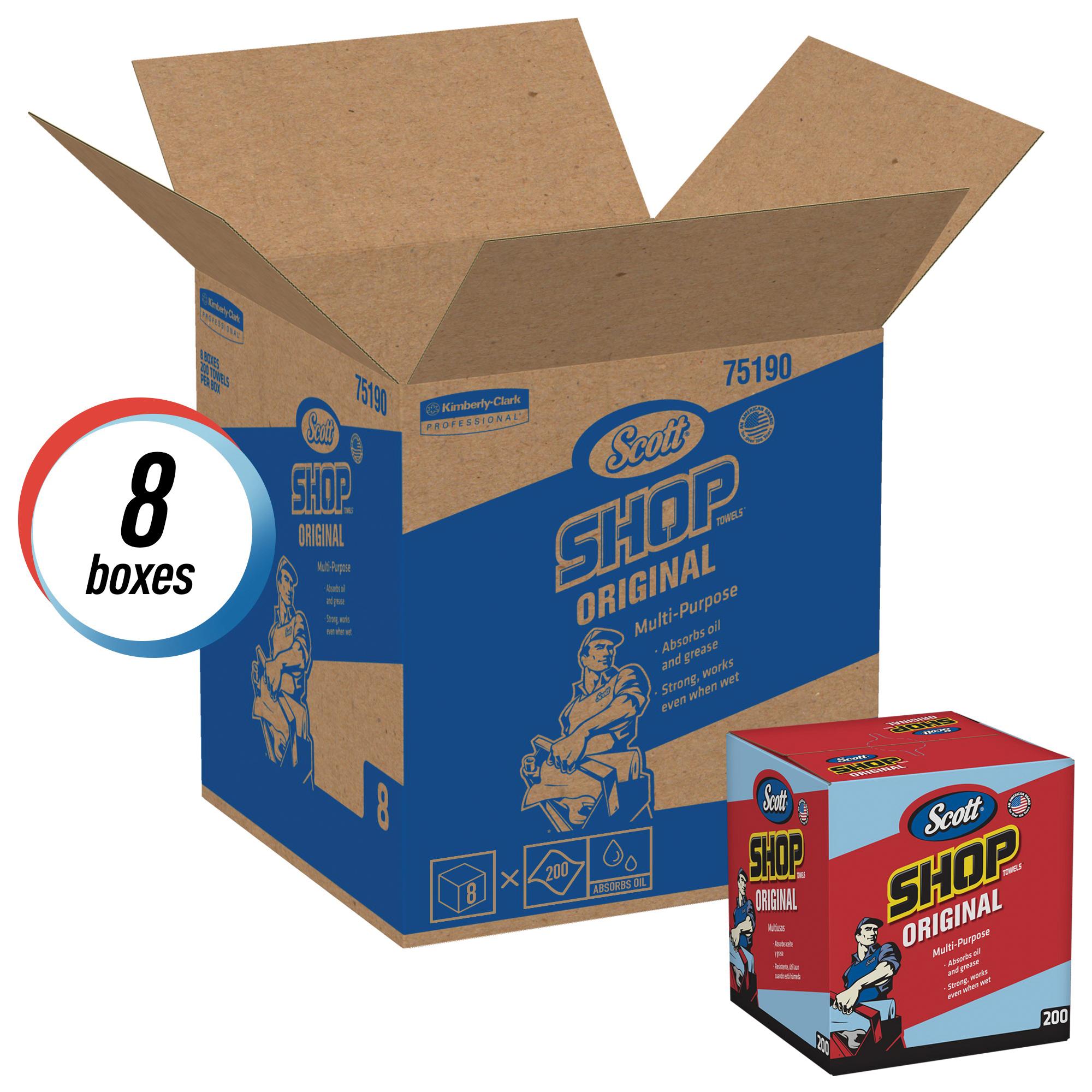 Scott® 75190 1-Ply Shop Towel, 10 in L x 13 in W, Blue, Pop-Up Box Package