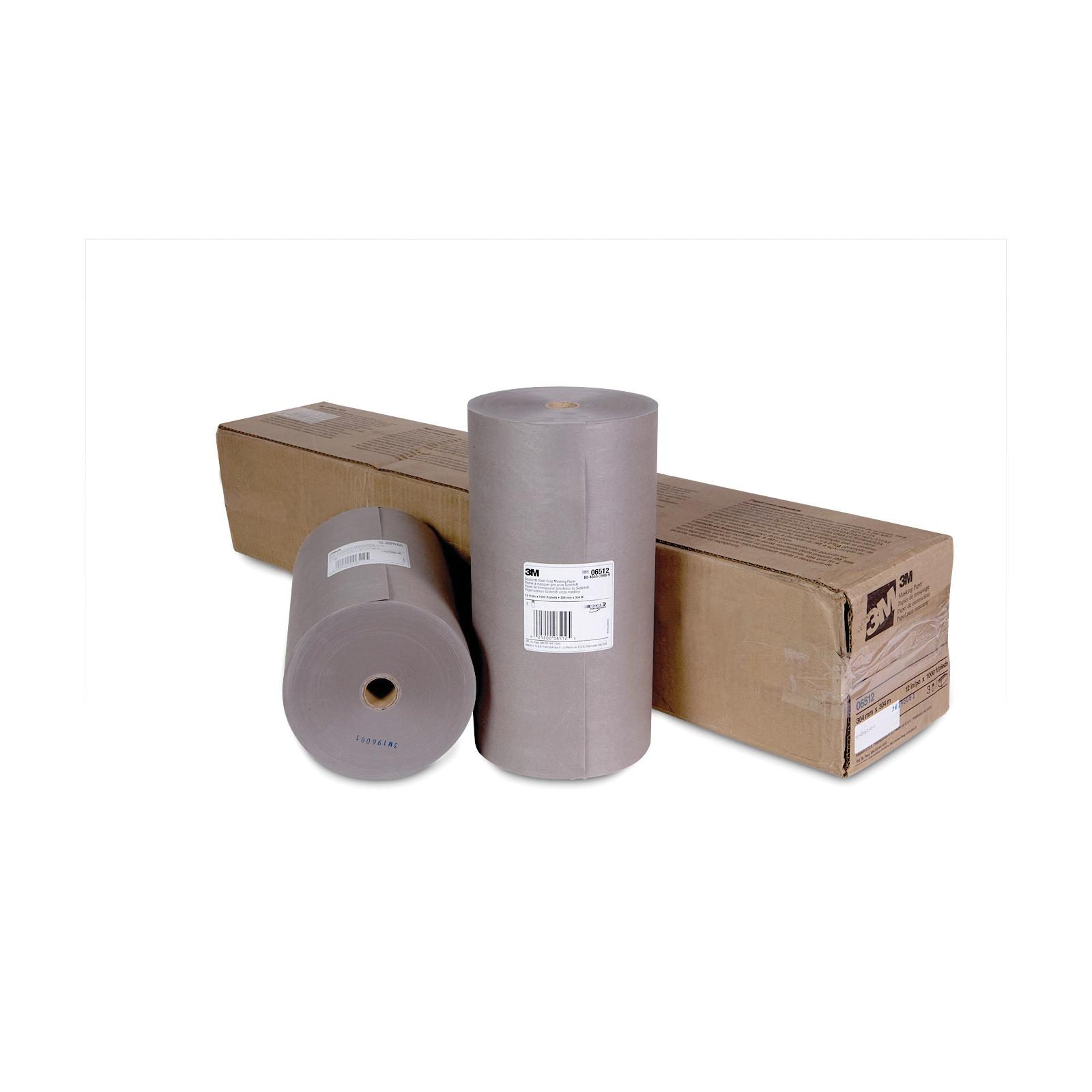 Scotch® 021200-06512 Masking Paper, 1000 ft Roll L x 12 in W x 2.8 mil THK, Paper, Steel Gray