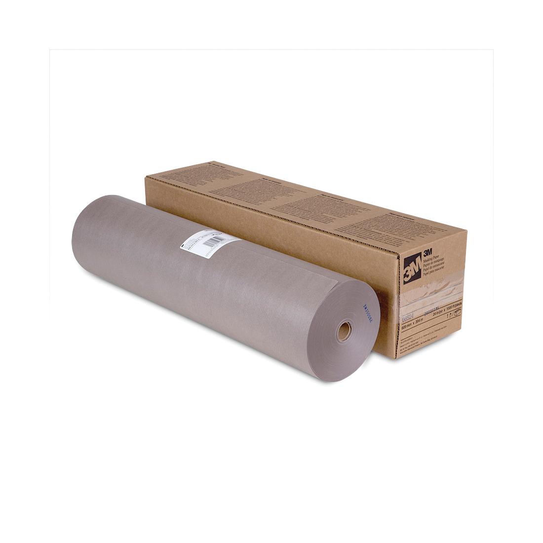 Scotch® 021200-06524 Masking Paper, 1000 ft Roll L x 24 in W x 2.8 mil THK, Paper, Steel Gray