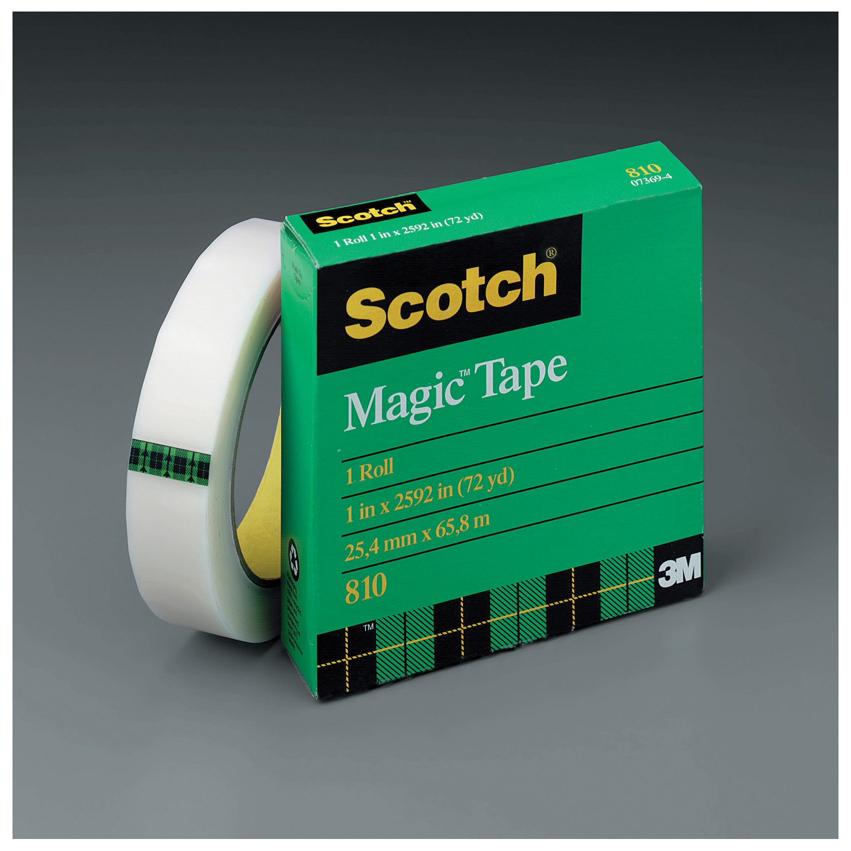 Scotch® Magic™ 021200-07369 Skip Slit Office Tape, 2592 in Roll L x 1 in W, 2.5 mil THK, Synthetic Acrylic Adhesive, Matte Acetate Backing, Transparent