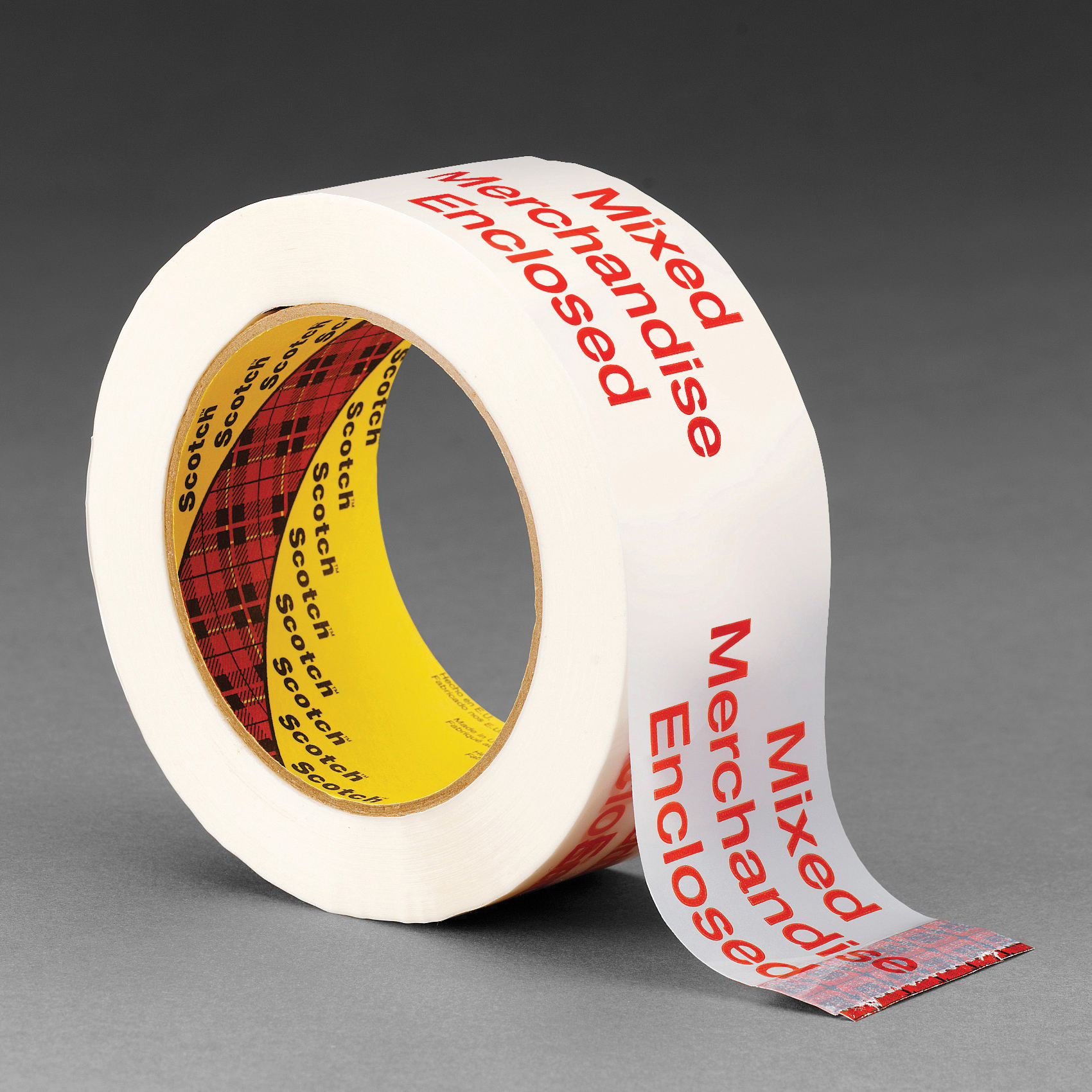 3M™ 3775 Printed Message Box Sealing Tape, 100 m L x 48 mm W, 1.8 mil THK, Hot Melt Synthetic Rubber Resin Adhesive, Polypropylene Film Backing, Red/White