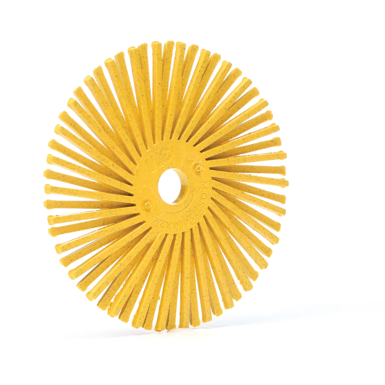 Scotch-Brite™ 048011-24280 RB-ZB Radial Bristle Brush, 3 in Dia Brush, 3/8 in Arbor Hole, 80 Grit, Medium Grade, Ceramic Fill
