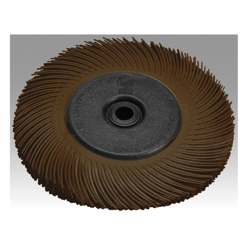 Scotch-Brite™ 048011-27603 BB-ZB Type A Radial Bristle Brush With Adapter, 6 in Dia Brush, 1/2 in W Face, 1 in Arbor Hole, 36 Grit, Very Coarse Grade, Ceramic Fill