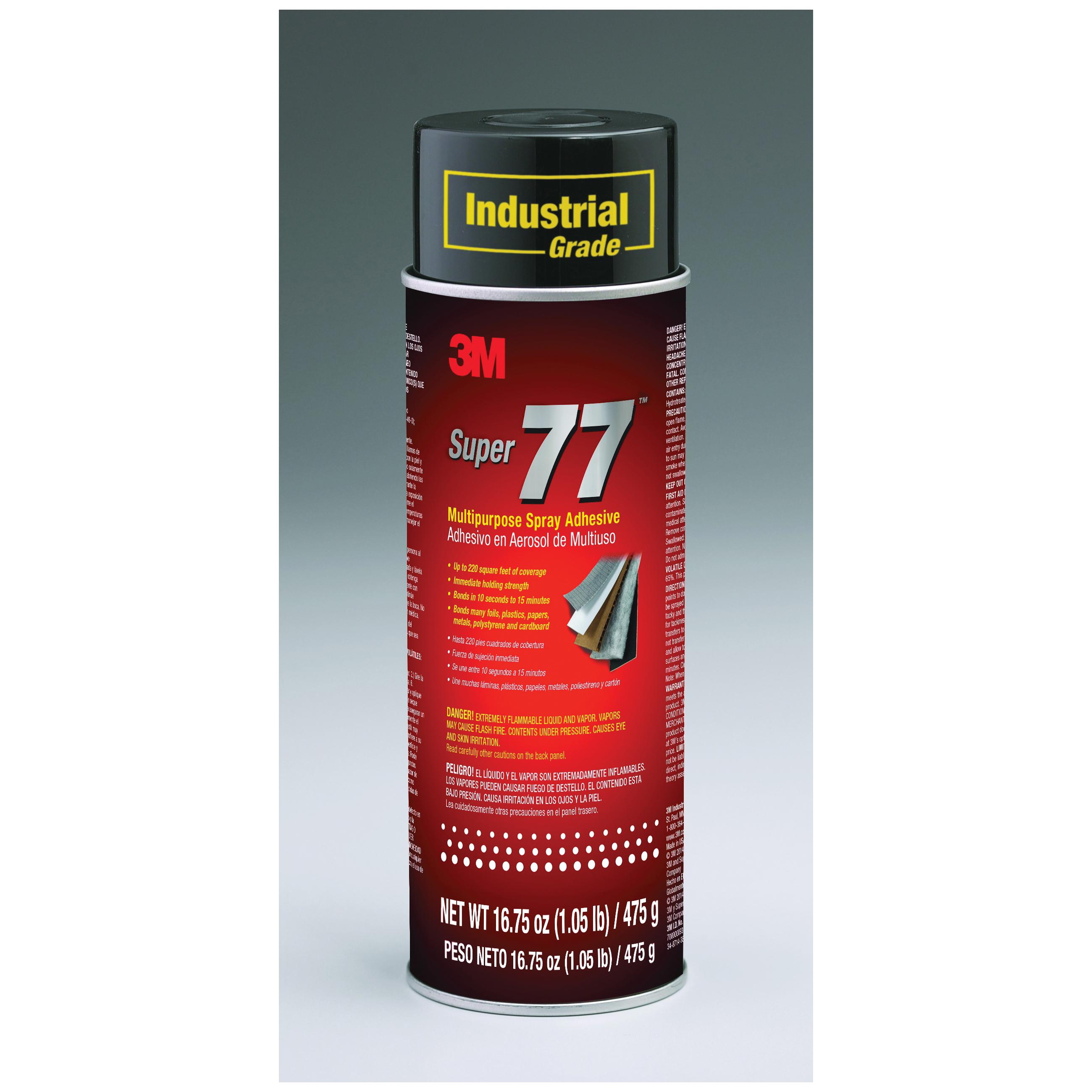 3M™ Super 77™ 021200-21210 77 Multi-Purpose Spray Adhesive, 24 fl-oz Aerosol Can, Liquid, Clear, 0.72