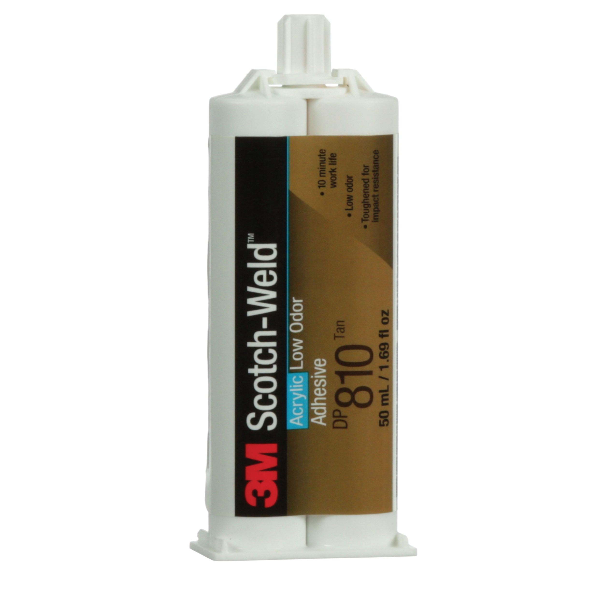 3M™ Scotch-Weld™ 021200-31310 2-Part Low Odor Adhesive, 50 mL Dual-Cartridge, Part A: Green/Part B: White, 8 to 24 hr Curing