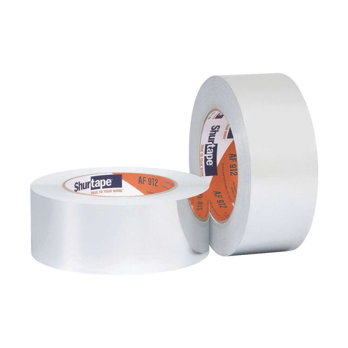 Shurtape® 101026 AF 912 HVAC Grade General Purpose Foil Tape, 50 yd L x 48 mm W, 6.4 mil with Liner/3.8 mil without Liner THK, Synthetic Rubber Adhesive, Dead-Soft Aluminum Foil Backing, Silver