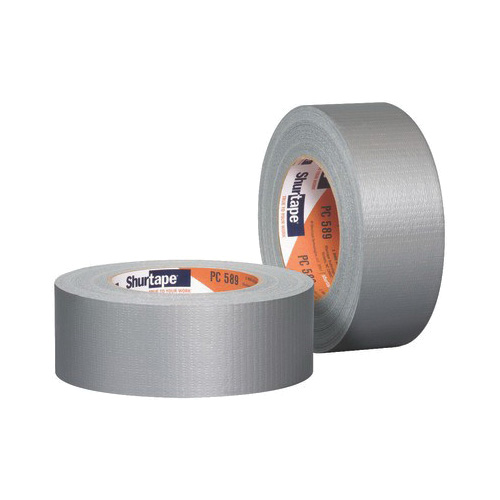 Shurtape® 152300 PC 589 Co-Extruded Utility-Grade Duct Tape, 55 m L x 48 mm W, 7 mil THK, Rubber Adhesive, Polyethylene Film with Cloth Carrier Backing, Silver