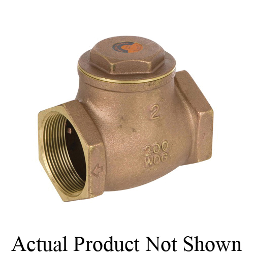 Smith-Cooper® 01739191E 9191 Swing Check Valve, 3/8 in Nominal, Threaded End Style, 200 lb CWP, Fiber-H Softgoods, Brass Body