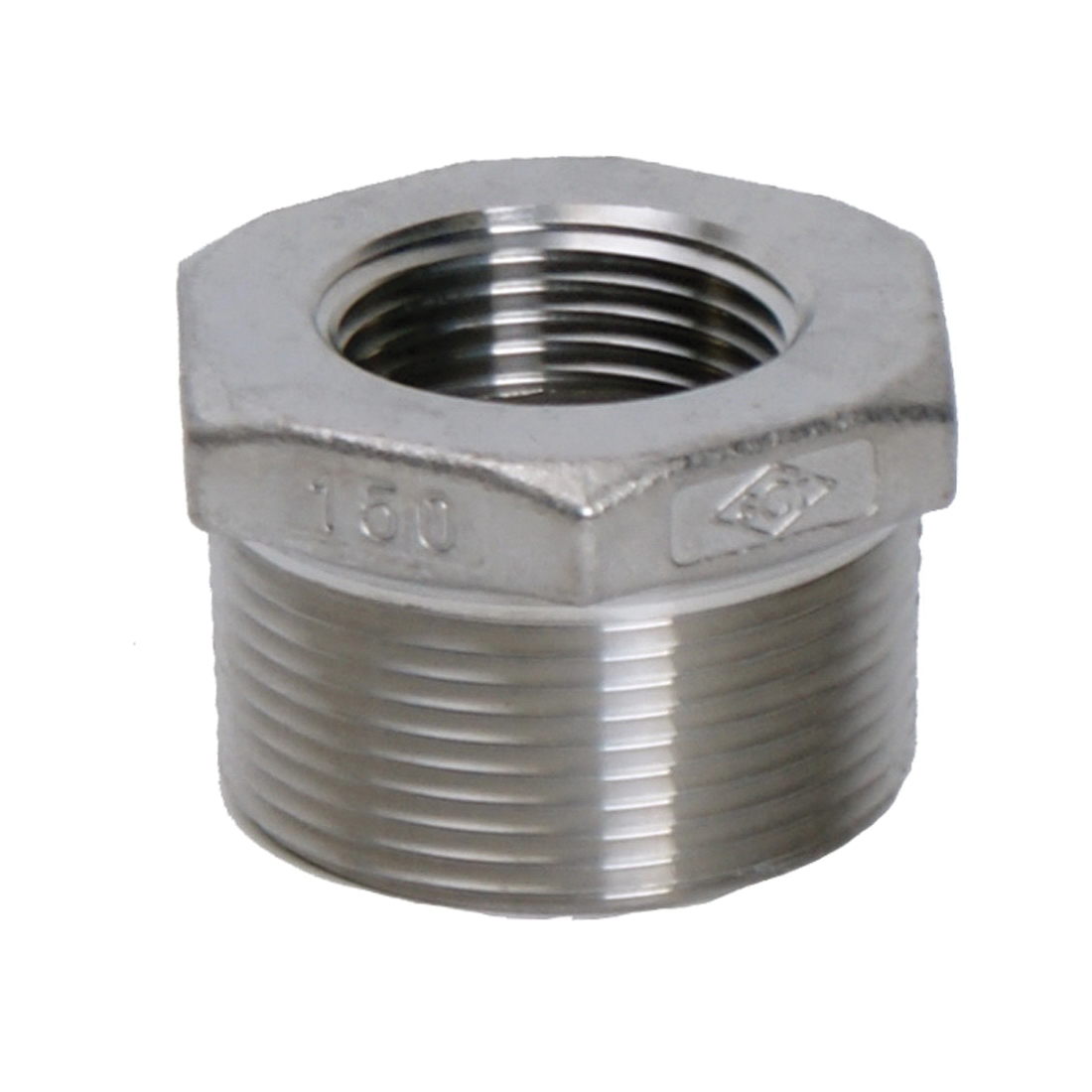 Smith-Cooper® S3114HB024020 S3014HB Hex Head Bushing, 2-1/2 x 2 in, FNPT, 150 lb, 304 Stainless Steel