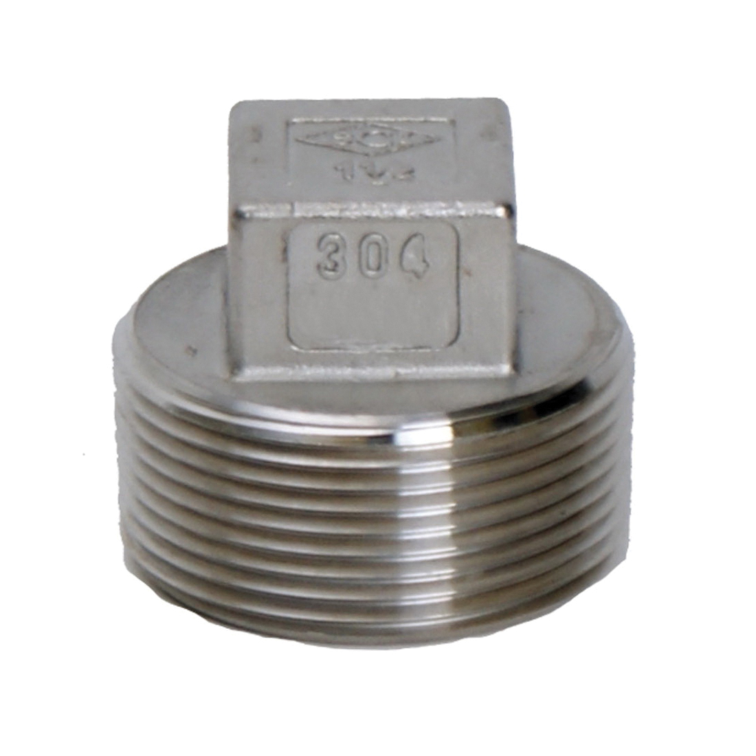 Smith-Cooper® S3114SP012 S3014SP Square Head Plug, 1-1/4 in Nominal, FNPT End Style, 150 lb, 304 Stainless Steel