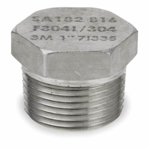 Smith-Cooper® S4034HP010 Hex Head Plug, 1 in, Threaded, 3000 lb, 304L Stainless Steel