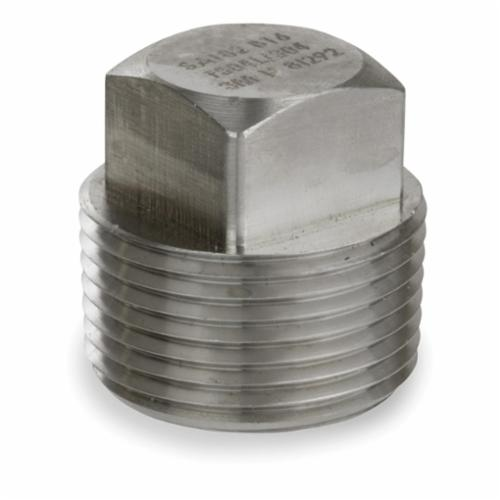 Smith-Cooper® S4034SP006 Square Head Plug, 3/4 in Nominal, Threaded End Style, 3000 lb, 304L Stainless Steel