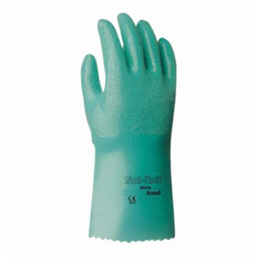 Sol-Knit® 217802 39-122 Chemical Resistant Gloves, SZ 9, Nitrile, Green, Interlock Knit Wrist Lining, 12 in L, Resists: Abrasive Surface, Sharp Edge, Chemical, Oil, Grease, Acid and Solvent, Supported Support, Gauntlet Cuff
