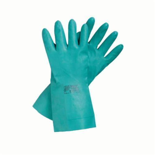 SolVex® 117299 37-185 Chemical-Resistant Gloves, SZ 8, Nitrile, Green, Unlined Lining, 18 in L, Resists: Abrasion, Chemical, Puncture and Snag, Unsupported Support, Straight Cuff, 22 mil THK