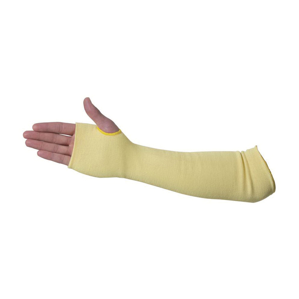 Sperian® by Honeywell KVS-2-18TH Standard Weight Cut-Resistant Sleeves With Thumb Hole, 18 in L x 2 ply THK, Kevlar®, Yellow
