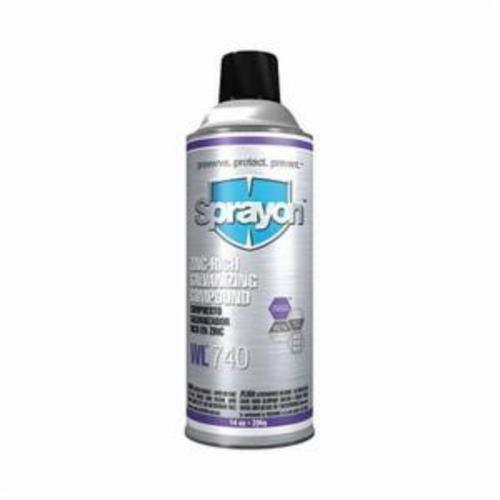 Sprayon® S00740000 WL™740 Zinc-Rich Galvanizing Compound, 14 oz, Medium Gray, 22 sq-ft Coverage, Low Gloss
