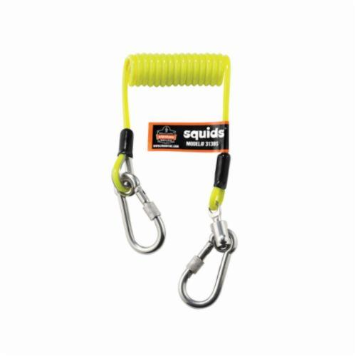 Squids® 19130 3130S Coiled Cable Lanyard, 2 lb Load Capacity, 6-1/2 in Coiled/50 in Extended L, Polyurethane Line, 1 Legs, Carabineer Anchorage Connection, Carabineer Harness Connection Hook, Specifications Met: ANSI/ISEA 121-2018