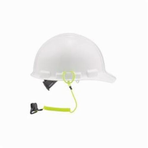 Squids® 19159 3158 Coil Hard Hat Lanyard With Clamp, 13 in L, 2 lb Working, Lime