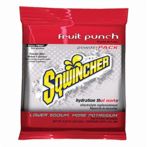 Sqwincher® 016005-FP Powder Pack™ Dry Mix Sports Drink Mix, 9.53 oz Pack, Powder, 1 gal Yield, Fruit Punch